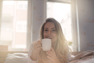 She always has her morning coffee.