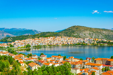 Spoed Foto op Canvas Groen blauw Waterfront of Kastoria, Greece