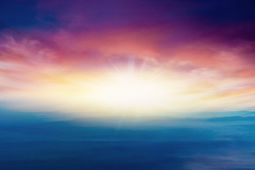Abstract big explosion . Light from sky . Religion background . beautiful cloud . background sky at sunset and dawn .