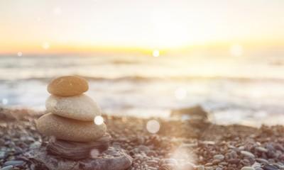 Photo sur Aluminium Zen pierres a sable Zen basalt stones on background