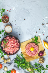 Homemade raw organic minced beef meat and steak tartare with yolk
