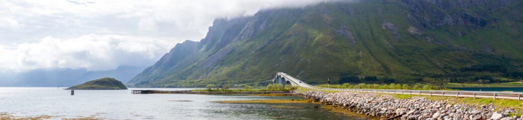 bridge over the fjord on Lofoten islands in Norway