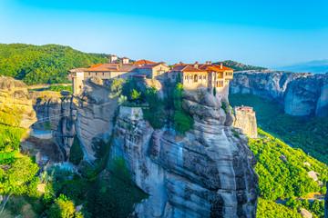 Foto op Canvas Blauw Monastery of Varlaam at Meteora, Greece