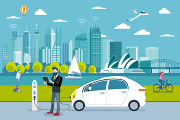 Man charging a electric car in Sydney