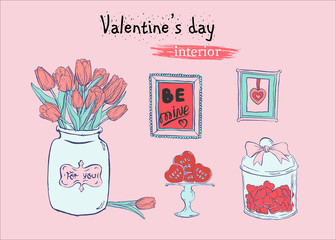 Valentine's day flat illustration with hand drawn sketch of  interior elements  on pink background.