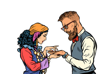 Gypsy palmist and hipster. Isolate on white background