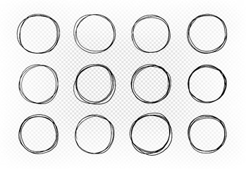 Hand drawn circle, set of elements. Sketch vector illustration