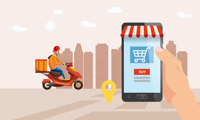 Online delivery service, tracking online tracker. Smartphone, scooter, parcel delivery moped, deliveryman. Internet delivery, concept, idea, vector, illustration for web sites, stores, animation