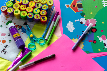 Pre-school art and crafts table background