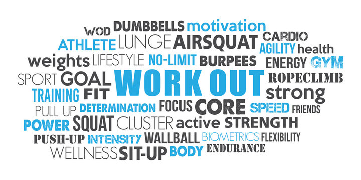 Workout sport word cloud concept text is outline blue and dark greyconcept text is outline