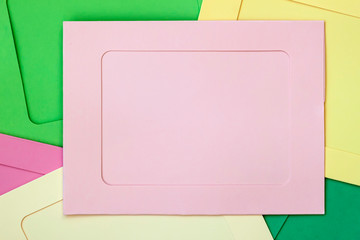 Multicolored frames with blank, empty field for your design. Flat lay, top view. Copy space