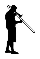 Trombone player vector silhouette illustration. Music man play wind instrument. Music artist. Jazz man. Bugler street performer. Musician play trumpet. Entertainment for public. Classic music event.