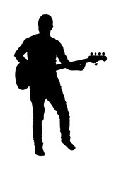 Guitarist vector silhouette illustration isolated on white background. Popular music super star on stage. Guitar music instrument. Rock and roll concert. Country club event. live public entertainment.