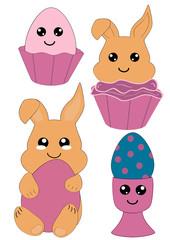 Kawaii Oster-Set mit Osterhase, Cupcake und Osterei. Vectordatei Eps 10