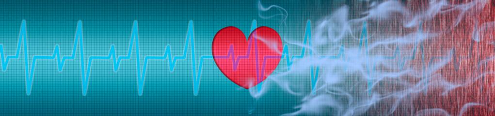 EKG, Herz, Zigarettenrauch macht krank