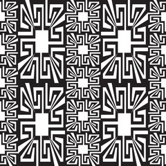 Geometric black and white greek vector seamless borders pattern. Ornamental abstract monochrome background. Creative design. Geometrical shapes, elements. Repeat decorative greek key meander ornaments