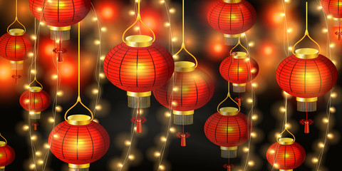 Happy Chinese New year. Chinese new year Festive red lanterns in china town Fairy Lights at Night. design for card, flyers, invitation, posters, brochure, banners. vector illustration.