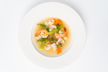 seafood soup isolated on the white background