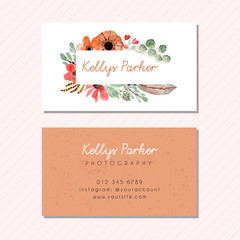 business card template with floral watercolor