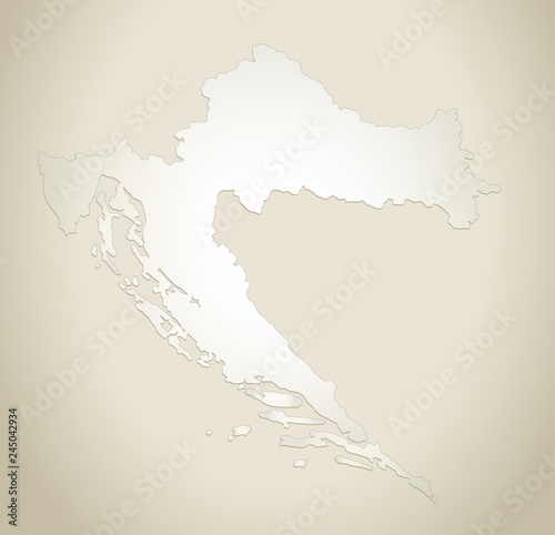 Croatia map old paper background vector\