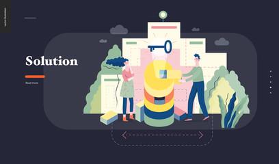 Technology 1 - Solution - modern flat vector concept digital illustration Problem Solution metaphor, abstract. Business workflow management. Creative landing web page design template