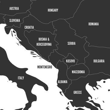 Political map of Balkans - States of Balkan Peninsula in grey. Vector illustration.