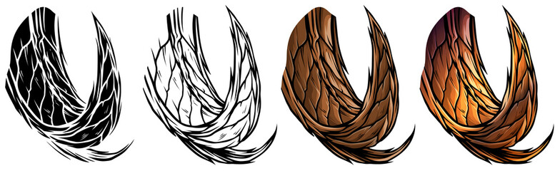 Cartoon graphic colorful detailed big sharp animal horns or antlers. Hunting trophy. Isolated on white background. Vector icon set.