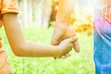 beautiful hands of a child and a parent in a park in nature