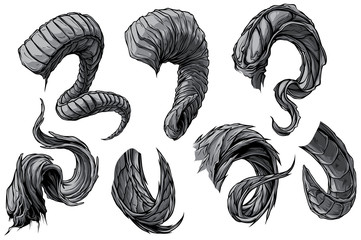 Cartoon graphic detailed big sharp spiral animal horns or antlers. Hunting trophy. Isolated on white background. Vector icon set.