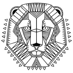 Ethnic style lion's head vector drawing. Isolated outlines