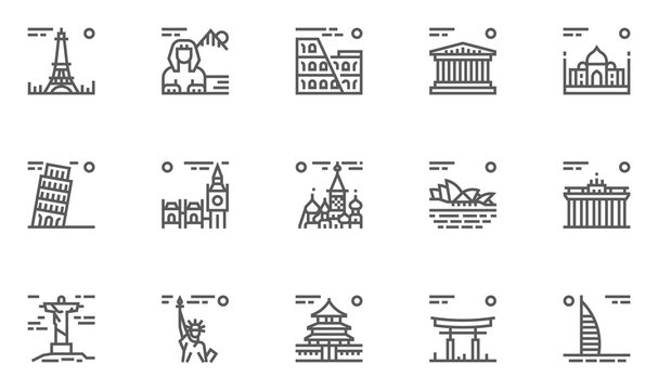 World Landmarks Vector Line Icons Set. France, Egypt, Italy, Greece, India, Britain, Russia, Australia, Germany, Brazil, America, China, Japan, Arab Emirates. Editable Stroke. 48x48 Pixel Perfect.