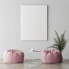 Mock up poster, minimalism interior concept, two rose poufs with palm plant, 3d render, 3d illustration
