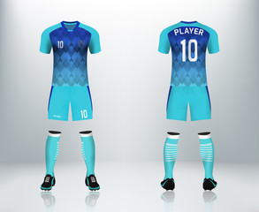 3D realistic of front and back of blue soccer jersey t-shirt with pants. Concept for soccer team uniform or football apparel mockup template design in vector illustration. Printable pattern for shirt