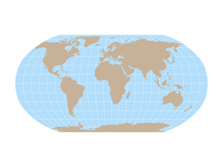 Fototapete - World Map in Robinson Projection with meridians and parallels grid. Brown land and blue sea. Vector illustration.