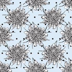 Hand drawn flower seamless pattern on the blue polka dot background