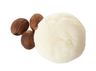Fresh shea butter and nuts isolated on white, top view