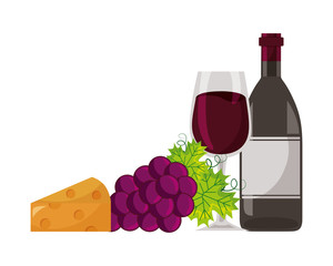 wine bottle cup grapes and cheese