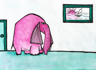 Watercolor illustration of pink elephant in the room with picture on the wall.  Art for children book, poster, print or banner. Surreal concept