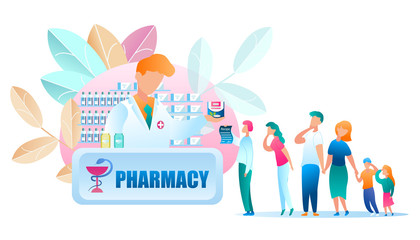 Illustration Group People Standing Line Pharmacy