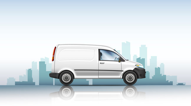 Conceptual vector illustration of van on a urban background.