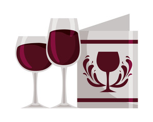 wine glass cups and restaurant menu beverages