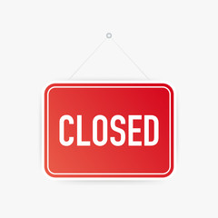 Closed only hanging sign on white background. Sign for door. Vector illustration.