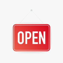 Open only hanging sign on white background. Sign for door. Vector illustration.