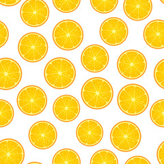 Citrus round piece. Lemon and orange Seamless pattern. Vector illustration isolated on white
