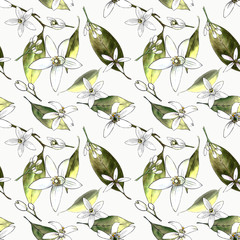 Seamless pattern with leaves and flowers on white background. Illustration drawn by markers