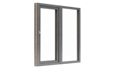 Wooden window on white background