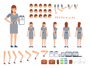 Woman creation kit. Create your own pose, animation. Diverse poses, gestures, emotions, design elements. Flat style vector illustration