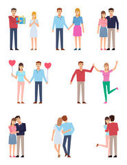 Couple in love. Man and woman posing together, on a date, relationships concept. Flat design vector illustration