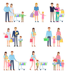 Group of people on shopping, happy family. Husband and wife on shopping with children. Flat design vector illustration