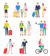Set of tourist, traveler people. Family at vacation, group of people in airport with luggage. Flat design vector illustration